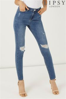 Lipsy High Rise Distressed Skinny Jeans