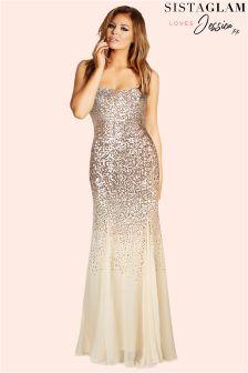 Sistaglam Loves Jessica Sequin Bardot Maxi Dress