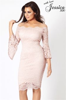 Jessica Wright Bardot Flute Sleeve Lace Midi Dress