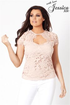 Jessica Wright Lace Keyhole Top