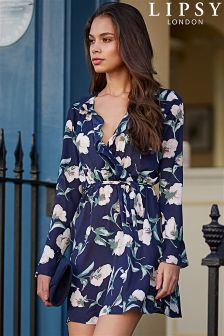 Lipsy Floral Print Ruffle Wrap Dress