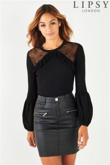 Lipsy Lace Balloon Sleeve Jumper
