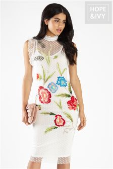 Hope & Ivy Embroidery Floral Pencil Dress