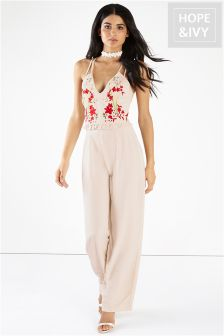 Hope & Ivy Embroidery Cami Strap Back Jumpsuit