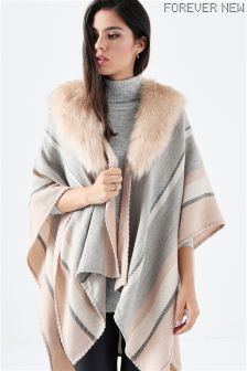 Forever New Check Faux Fur Poncho