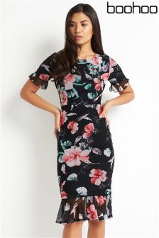 Boohoo Printed Peplum Hem Dress