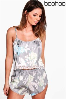 Boohoo Lace Hem Cami & Short Set