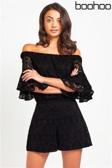 Boohoo Crochet Off Shoulder Playsuit