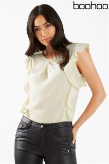 Boohoo Sheer Ruffle Side Blouse