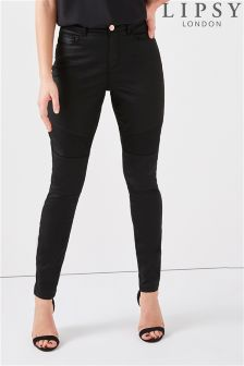 Lipsy Mid Rise Coated Biker Jeans