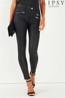 Lipsy High Waist Glitter Zip Detail Jeans