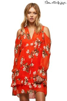 Miss Selfridge Orchid Print Cold Shoulder Smock Dress