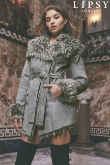 Lipsy Faux Fur Bonded Wrap Coat