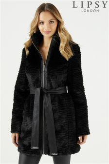 Lipsy Long Faux Fur Belted Coat