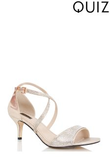 Quiz Cross Strap Low Heel Sandals