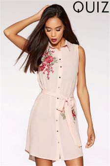 Quiz Embroidered Sleeveless Shirt Dress