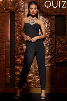 Quiz Diamanté Halter Neck Jumpsuit