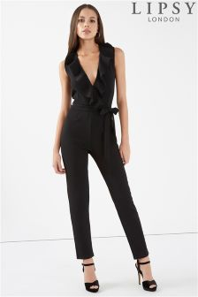 Lipsy Ruffle Front Jumpsuit With Tie