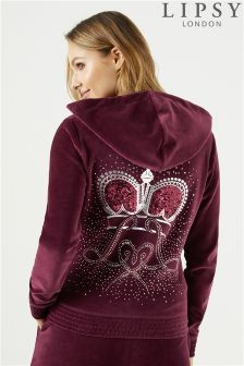 Lipsy Crown Sheering Detail Velour Hoody