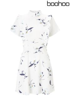 Boohoo Ruffle Front Printed Skater Dress