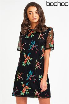 Boohoo Embroidered Mesh Shift Dress