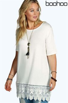 Boohoo Plus Crochet Detail Tee