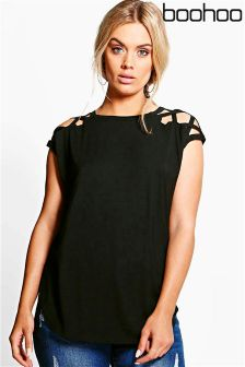Boohoo Plus Lace Up Detail Shoulder Tee