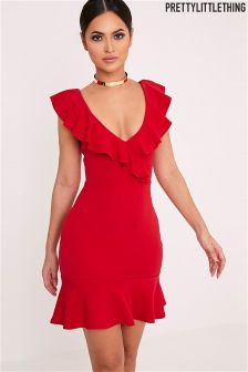 PrettyLittleThing Red Frill Detail Bodycon Dress