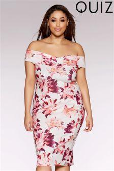 Quiz Curve Scuba Flower Print Bardot Cross Over Midi Dress