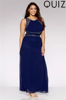 Quiz Curve Chiffon Embellished Maxi Dress