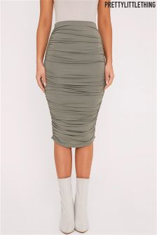 PrettyLittleThing Katerina Ruched Side Midi Skirt