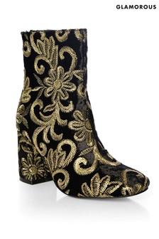 Glamorous Sequin Velvet Ankle Boots