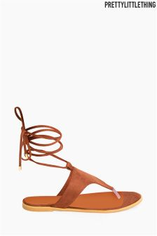 PrettyLittleThing Lace Flat Sandals
