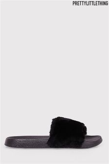 PrettyLittleThing Robynn Black Fluffy Sliders