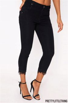 PrettyLittleThing Mid Rise Lace Trim Skinny Jeans