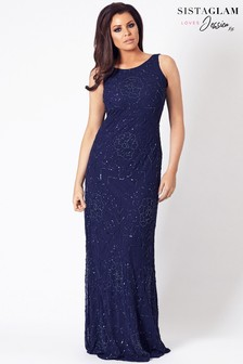 Jessica Wright Cowl Back Beaded Maxi Dress