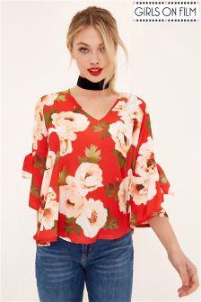 Girls On Film V neck Floral Blouse