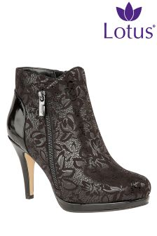 Lotus Stiletto Print Ankle Boots