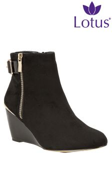 Lotus Wedge Heel Ankle Boots
