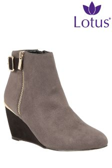 Lotus Wedge Heel Ankle Boot