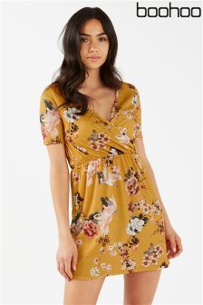 Boohoo Printed Wrap Front Dress