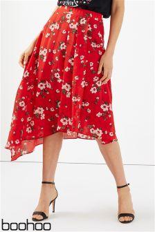 Boohoo Asymmetric Floral Skirt
