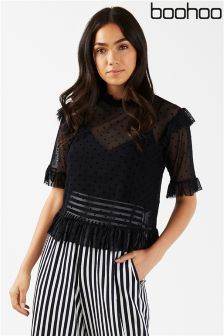 Boohoo Polka Mesh High Neck Ruffle Top