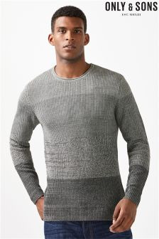 Only & Sons Grey Stripe Crew Neck Jumper