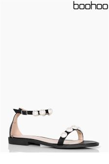 Boohoo Ella Pearl Detail Two Part Sandals