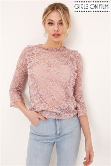 Girls On Film Lace Ruffle Top