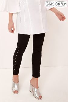Girls On Film Lace Up Side Skinny Jeans