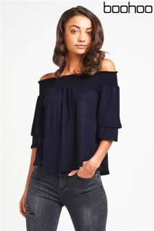 Boohoo Shirred Bardot Top
