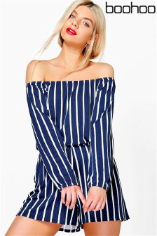 Boohoo Helena Striped Off The Shoulder Playsuit