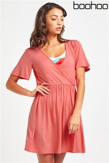 Boohoo Wrap Fron Skater Dress